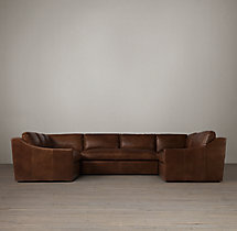 Preconfigured Belgian Classic Slope Arm Leather U-Sofa Sectional