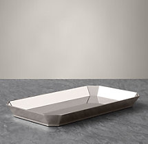 Faceted Metal Bath Tray - Polished Nickel