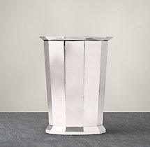 Faceted Metal Wastebasket - Polished Nickel