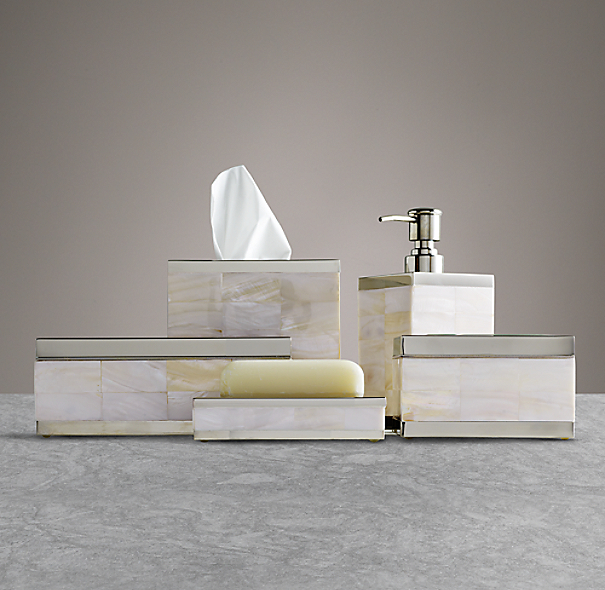 Mother of pearl bath accessories for Restoration hardware bathroom accessories