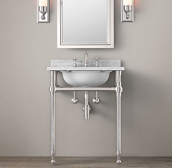 Gramercy Powder Room Metal Washstand With Backsplash