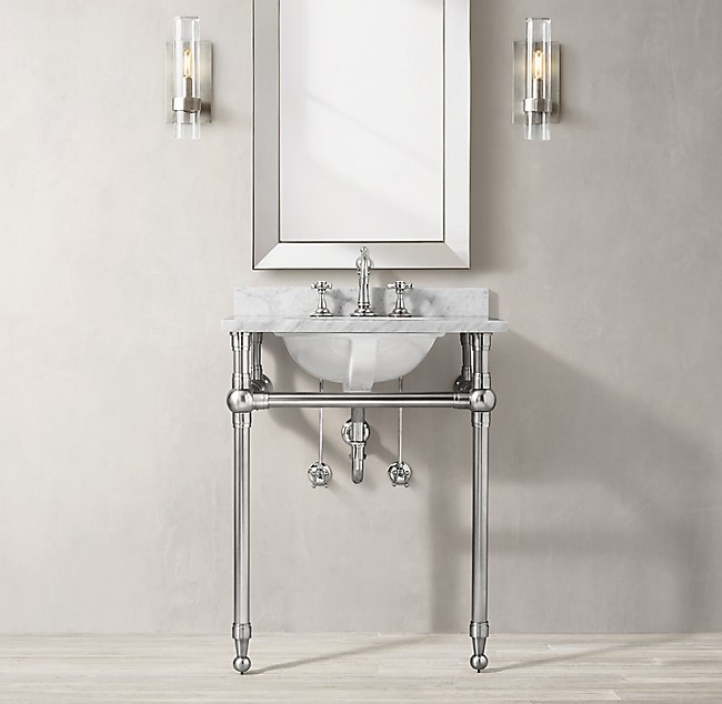 Gramercy Powder Metal Washstand With Backsplash