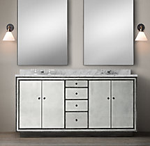 Strand Mirrored Double Vanity Sink