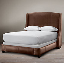 Warner Leather Bed With Nailheads