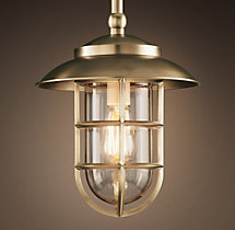 Starboard Pendant With Shade - Antique Brass