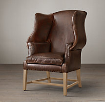 1920s Georgian Wingback Chair Leather