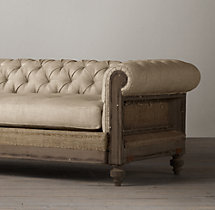 7' Deconstructed Chesterfield Upholstered Sofa