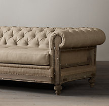 9' Deconstructed Chesterfield Upholstered Sofa