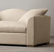 6' Belgian Camelback Upholstered Sofa