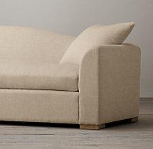 7' Belgian Camelback Upholstered Sofa