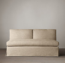 Belgian Petite Roll Arm Slipcovered Armless Sofa