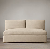 Belgian Petite Roll Arm Upholstered Armless Sofa
