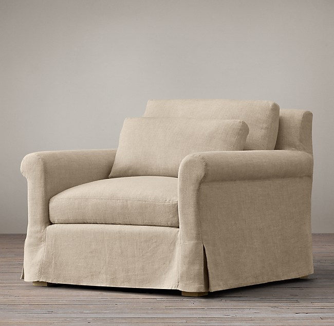 Belgian Petite Roll Arm Slipcovered Chair