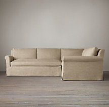 Preconfigured Belgian Petite Roll Arm Slipcovered Corner Sectional
