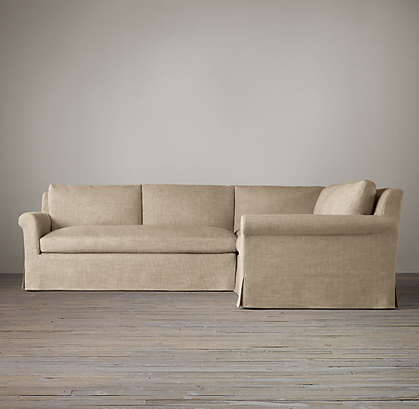 Belgian Petite Roll Arm Slipcovered Customizable Sectional