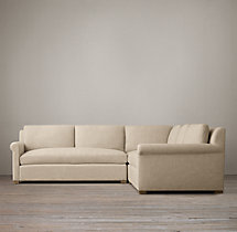 Preconfigured Belgian Petite Roll Arm Upholstered Corner Sectional