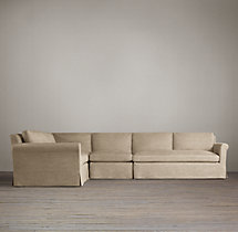 Preconfigured Belgian Petite Roll Arm Slipcovered L-Sectional