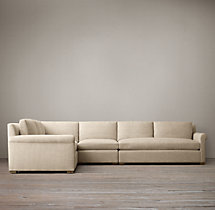 Preconfigured Belgian Petite Roll Arm Upholstered L-Sectional