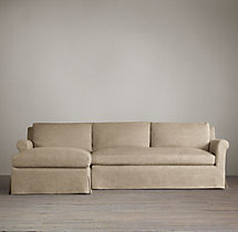 Preconfigured Belgian Petite Roll Arm Slipcovered Left-Arm Chaise Sectional
