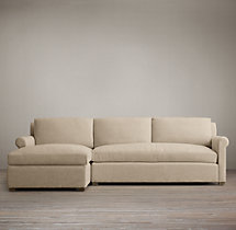 Preconfigured Belgian Petite Roll Arm Upholstered Left-Arm Chaise Sectional