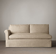 Belgian Petite Roll Arm Slipcovered Left-Arm Sofa