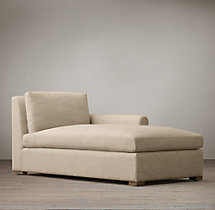 Belgian Petite Roll Arm Upholstered Right-Arm Chaise