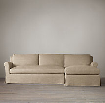 Preconfigured Belgian Petite Roll Arm Slipcovered Right-Arm Chaise Sectional