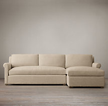 Preconfigured Belgian Petite Roll Arm Upholstered Right-Arm Chaise Sectional