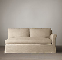 Belgian Petite Roll Arm Slipcovered Right-Arm Sofa
