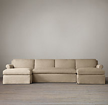 Preconfigured Belgian Petite Roll Arm Slipcovered U-Chaise Sectional