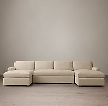 Preconfigured Belgian Petite Roll Arm Upholstered U-Chaise Sectional