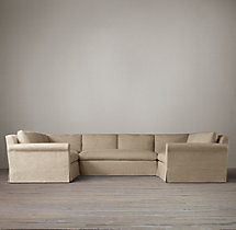 Preconfigured Belgian Petite Roll Arm Slipcovered U-Sofa Sectional