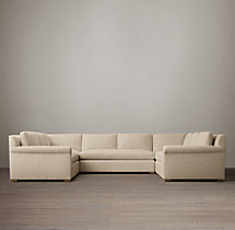 Preconfigured Belgian Petite Roll Arm Upholstered U-Sofa Sectional