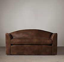 5' Belgian Camelback Leather Sofa
