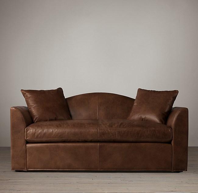6\' Belgian Camelback Leather Sofa