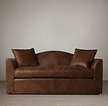 6' Belgian Camelback Leather Sofa
