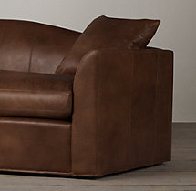 7' Belgian Camelback Leather Sofa