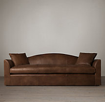 8' Belgian Camelback Leather Sofa