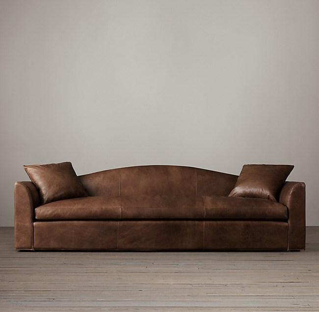 9\' Belgian Camelback Leather Sofa