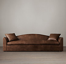10' Belgian Camelback Leather Sofa
