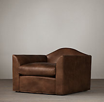 Belgian Camelback Leather Swivel Chair