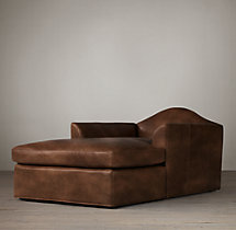 Belgian Camelback Leather Chaise