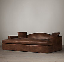 Belgian Camelback Leather Daybed