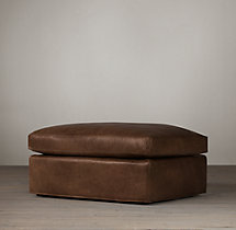 Belgian Camelback Leather Ottoman