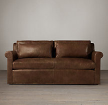 7' Belgian Petite Roll Arm Leather Sofa