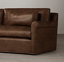 8' Belgian Petite Roll Arm Leather Sofa
