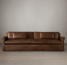 9' Belgian Petite Roll Arm Leather Sofa