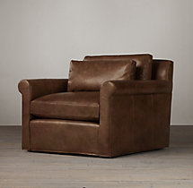Belgian Petite Roll Arm Leather Swivel Chair
