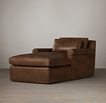Belgian Petite Roll Arm Leather Chaise
