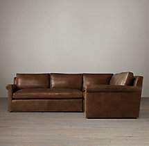 Preconfigured Belgian Petite Roll Arm Leather Corner Sectional